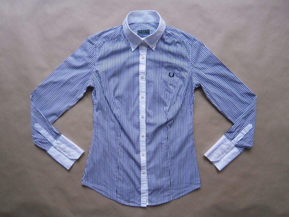 M/L . Fred Perry . fialovo-černo-bílá pruhovaná košile s dlouhým rukávem