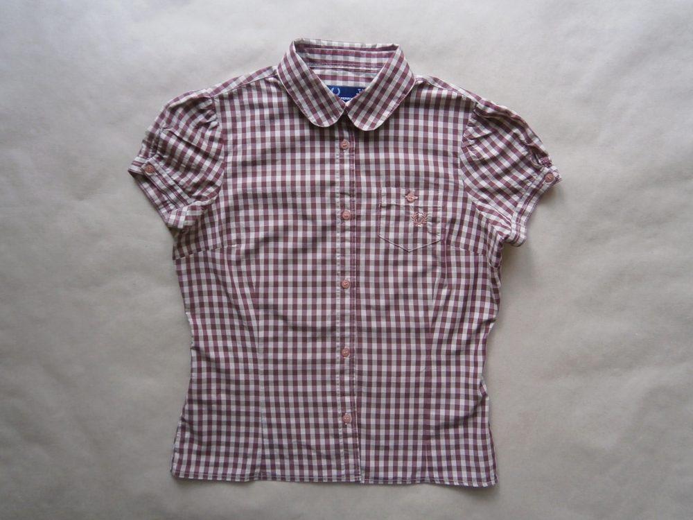 36 . Fred Perry . vínovo-krémová kostkovaná košile
