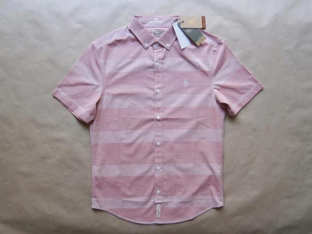 S . Original Penguin . růžovo-bílá košile