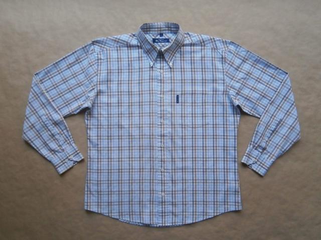 L/XL . Ben Sherman . modro-hnědá kostkovaná košile