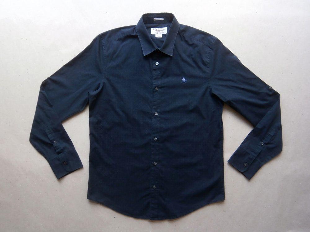 M . Original Penguin . černá košile s jemnými tečkami a s dlouhým rukávem