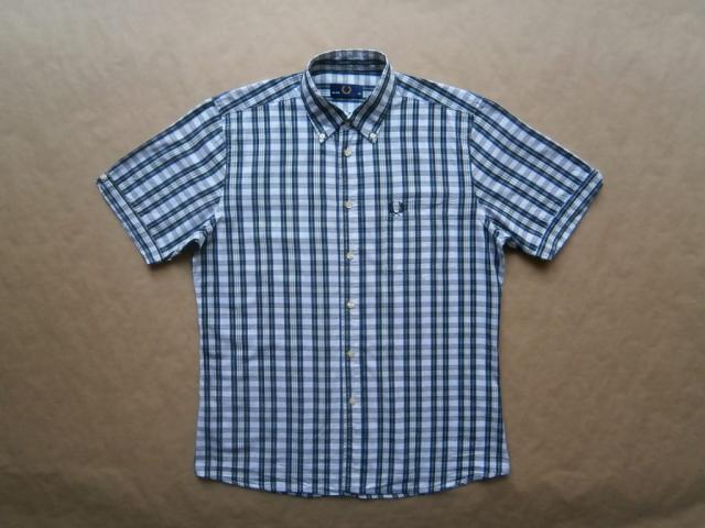 M . Fred Perry . bílo-zeleno-modrá kostkovaná košile