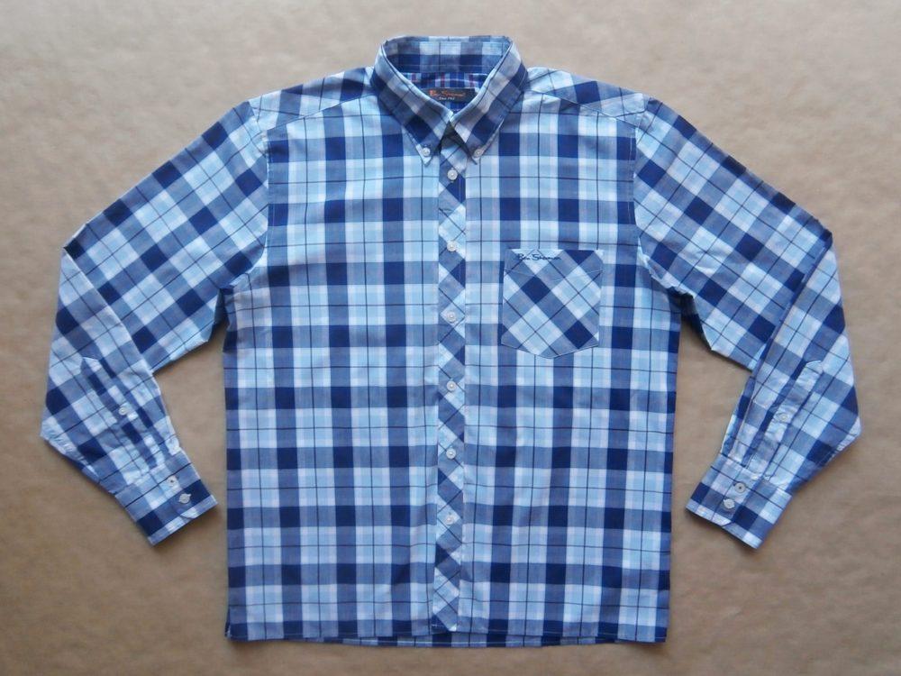 M . Ben Sherman . tmavě a světle modrá kostkovaná košile
