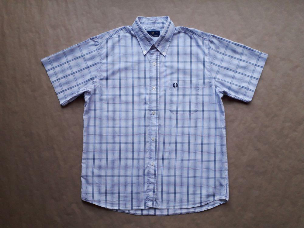 M . Fred Perry . modro-bílá kostkovaná košile