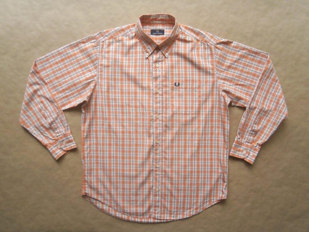 L . Fred Perry . oranžovo-bílá kostkovaná košile