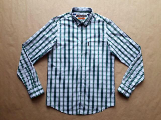 S . Ben Sherman . zeleno-bílá pruhovaná košile