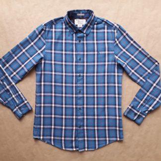 S . Original Penguin . modrá kostkovaná flanelová košile
