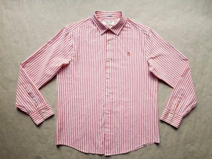 L . Original Penguin . červeno-bílá pruhovaná košile