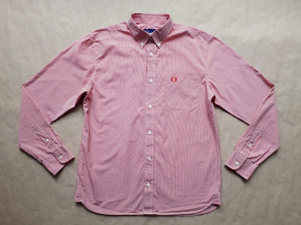 M . Fred Perry . červeno-bílá gingham košile