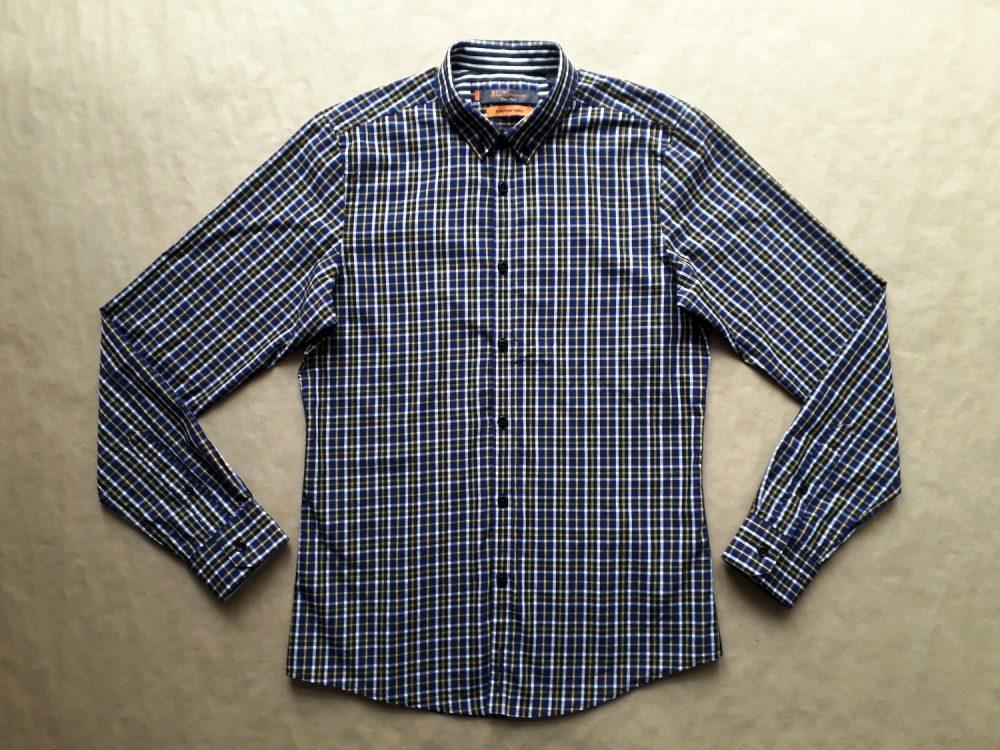 S . Ben Sherman . žluto-bílo-tmavě modrá kostkovaná košile