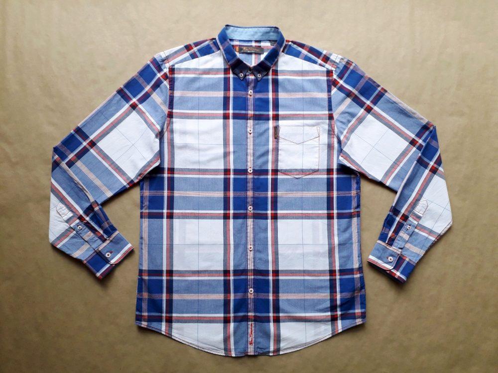 L . Ben Sherman . červeno-modro-bílá kostkovaná košile
