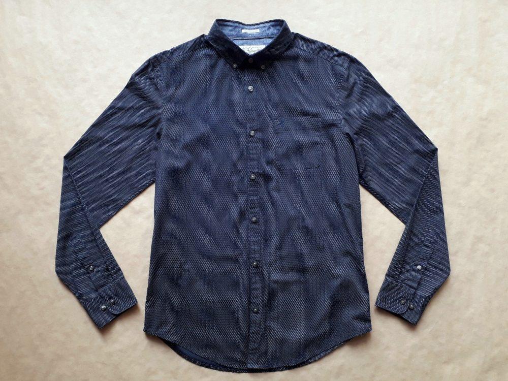 M . Original Penguin . tmavě modrá košile s malými bílými puntíky