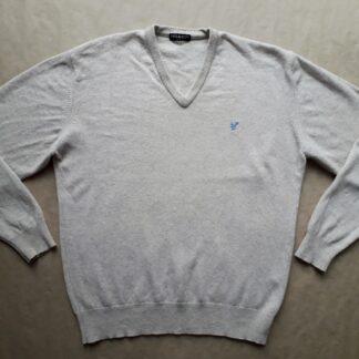 XL/XXL . Lyle & Scott . béžový svetr se světle modrým orlem