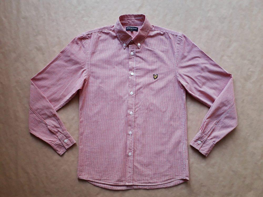 S . Lyle & Scott . červeno-bílá gingham košile