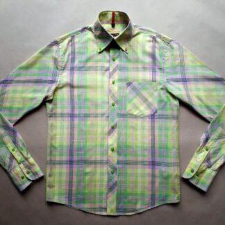 S . Ben Sherman . světle zeleno-žlutá kostkovaná košile