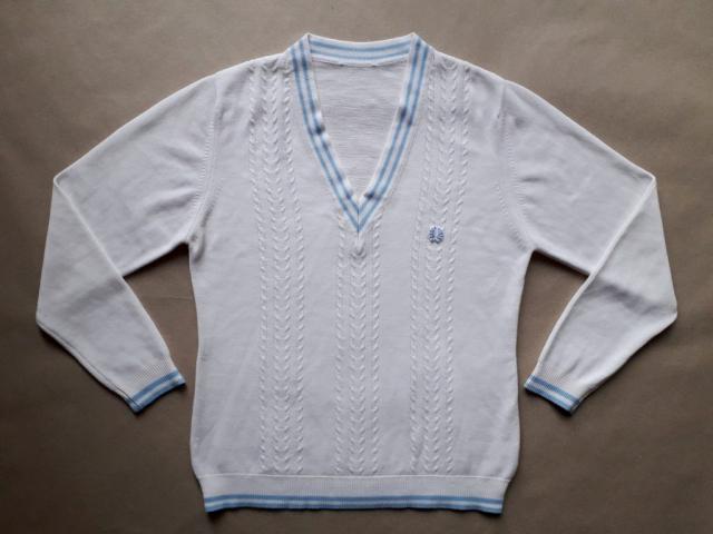 L . Fred Perry . vintage modro-bílý svetr