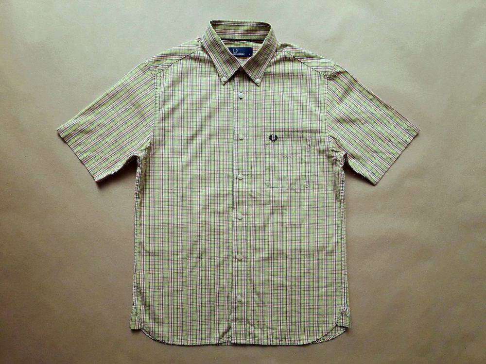 S . Fred Perry . zeleno-bílá kostkovaná košile