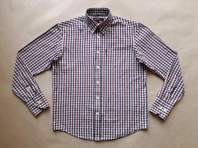 S . Ben Sherman . vínovo-modro-bílá kostkovaná košile
