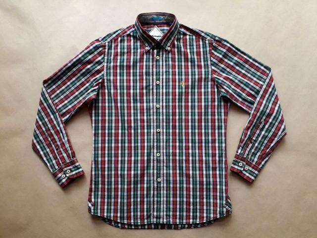 S . Burlington . červeno-zelená kostkovaná košile
