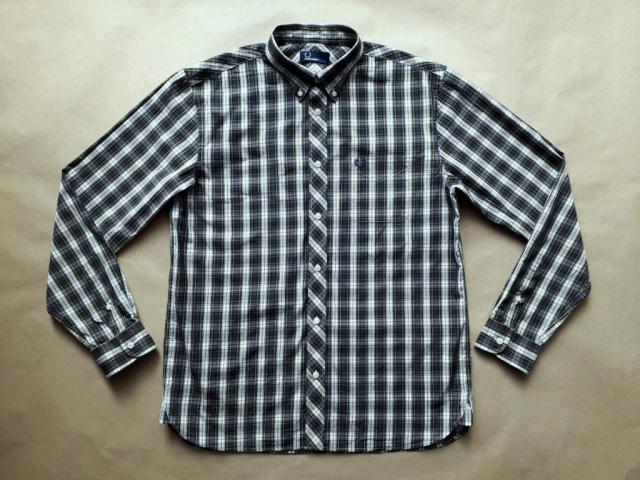 L/XL . Fred Perry . zeleno-šedo-bílá košile
