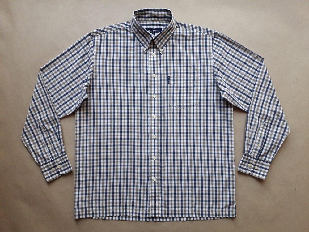 L/XL . Ben Sherman . modro-hnědo-bílá kostkovaná košile