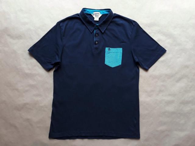 L/XL . Original Penguin . tmavě modré polo se světle modrou vzorovanou kapsičkou