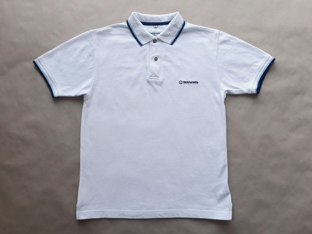 S . Lambretta . bílé polo s modrým proužkem
