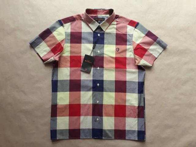 L . Ben Sherman . červeno-modro-krémová kostkovaná košile