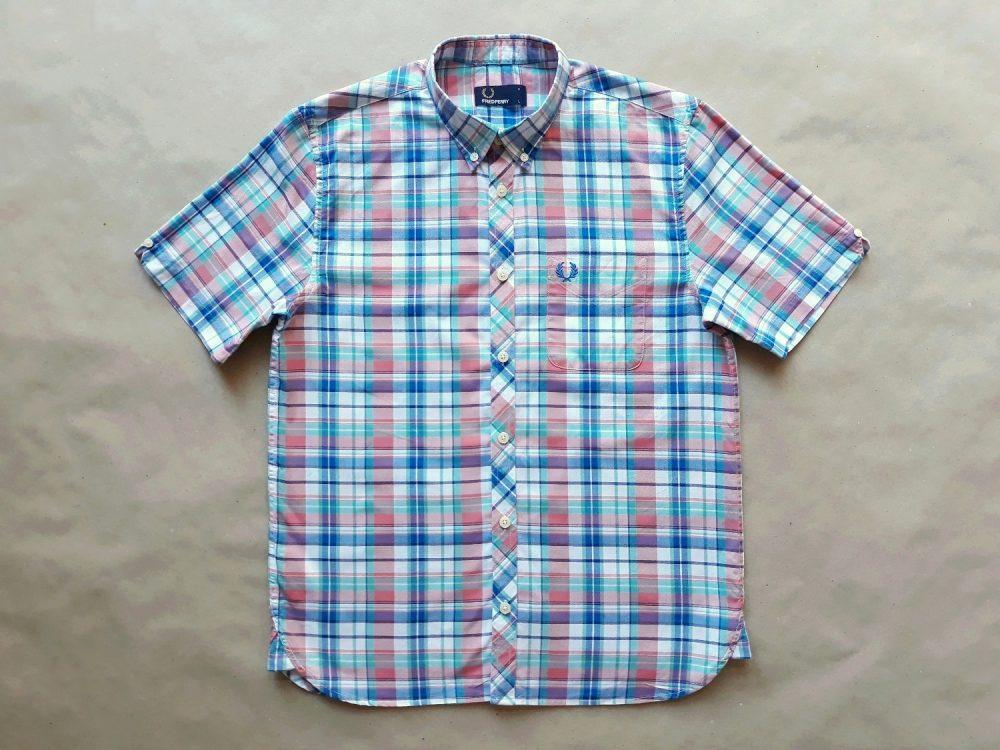 XS/S . Fred Perry . růžovo-modro-zeleno-bílá kostkovaná košile