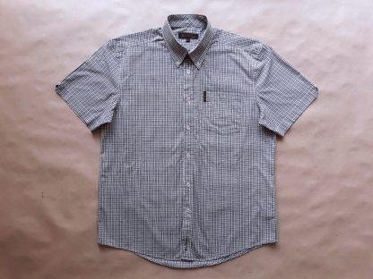 L . Ben Sherman . červeno-šedo-bílá kostkovaná košile