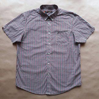 XL . Ben Sherman . vínovo-modro-bílá kostkovaná košile