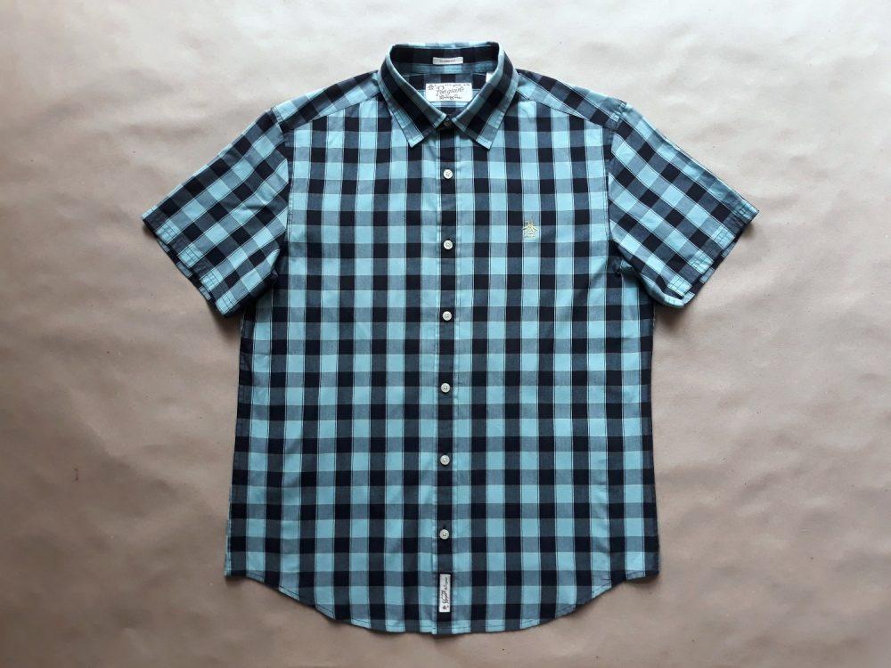 M . Original Penguin . černo-světle modrá kostkovaná košile
