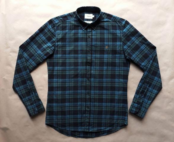 M . Farah . zeleno-modrá kostkovaná flanelová košile