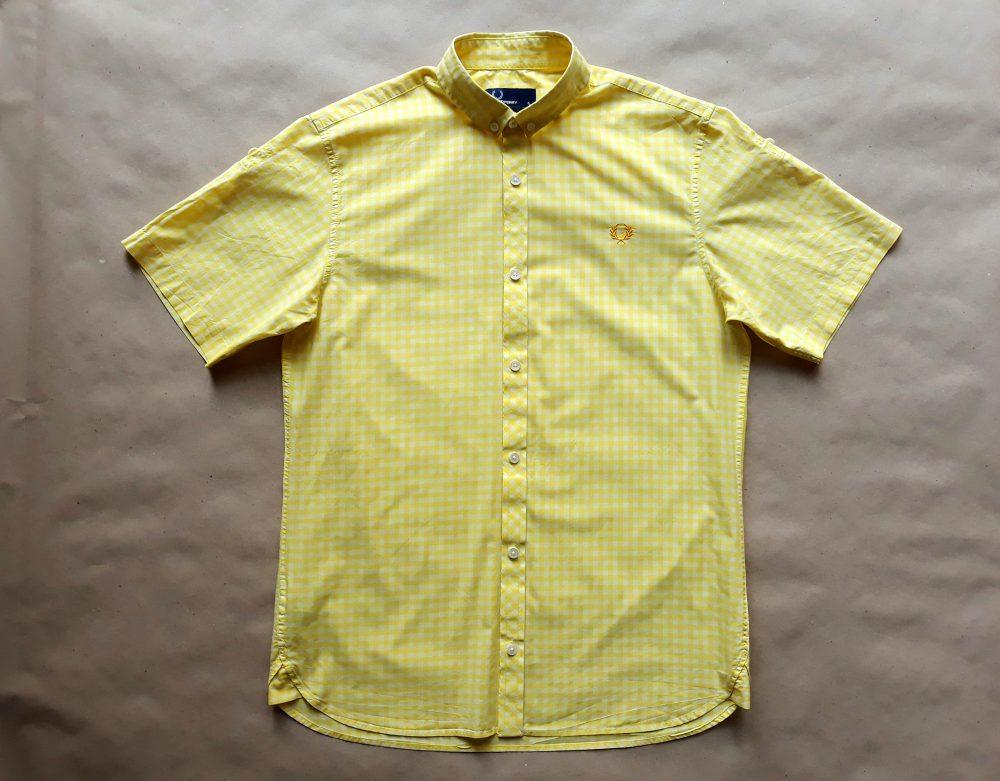 S . Fred Perry . žluto-bílá kostkovaná košile