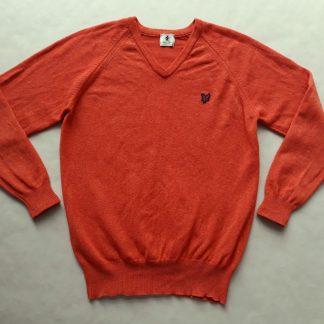 L . Lyle & Scott . oranžový svetr s vínovým orlem