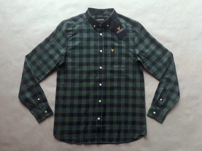 S . Lyle & Scott . černo-zelená kostkovaná flanelová košile
