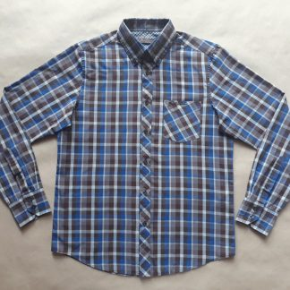 S . Ben Sherman . hnědo-modrá kostkovaná košile