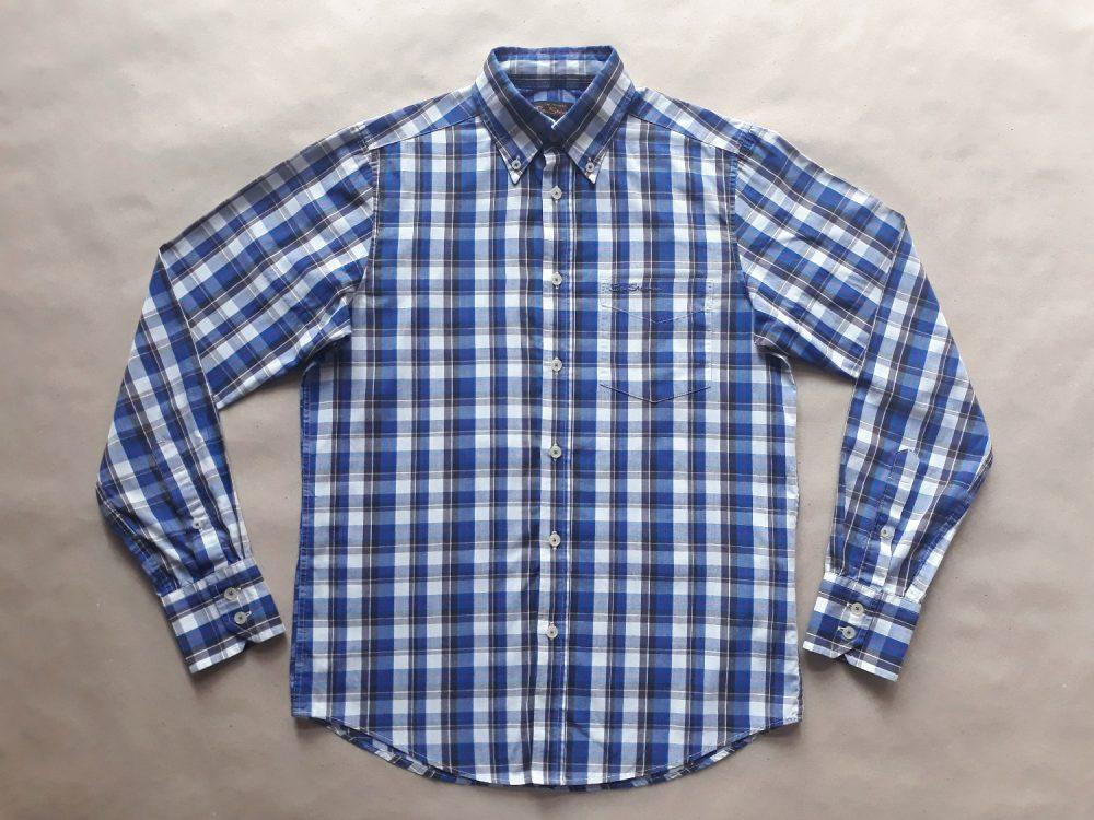 S . Ben Sherman . hnědo-modro-bílá kostkovaná košile