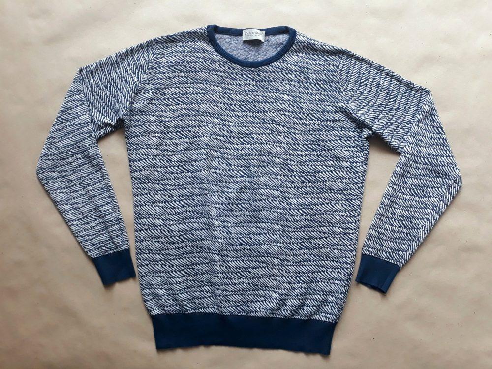 S . John Smedley . modro-bílý vzorovaný svetr
