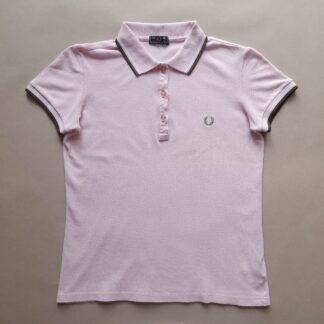 S/M . Fred Perry . světle růžové polo s bílým a hnědým proužkem