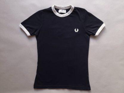 34/36 . Fred Perry . dámské černé tričko s krémovými lemy