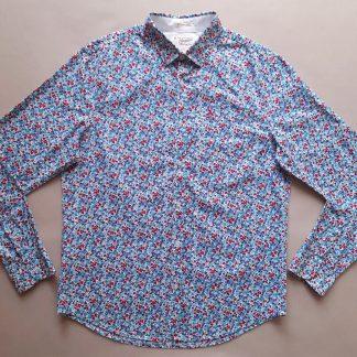 L . Original Penguin . bílá košile s červenými a modrými kytkami