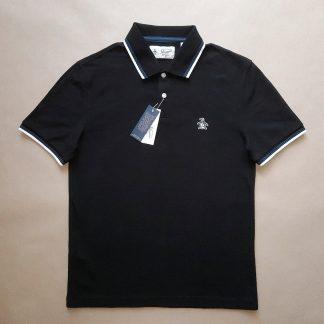XS . Original Penguin . černé polo s bílým a modrým proužkem