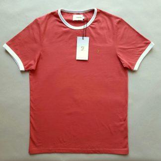 S . Farah . korálově červené tričko s bílými lemy