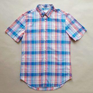 S . Farah . růžovo-modro-bílá kostkovaná košile