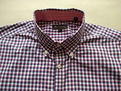 L . Ben Sherman . vínovo-modro-bílá kostkovaná košile