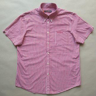 L/XL . Ben Sherman . vínovo-bílá kostkovaná gingham košile