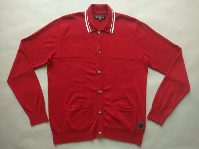 XL . Ben Sherman . červený cardigan s bílým proužkem