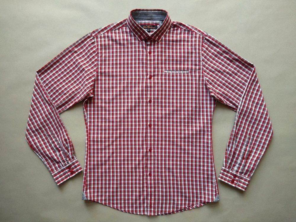 M . Ben Sherman . červeno-šedo-bílá kostkovaná košile