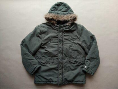 12–13 let . Ben Sherman . khaki zimní bunda s kapucí a kožíškem